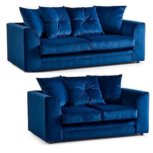 Rockford 3+2 Blue Plush Velvet Sofa