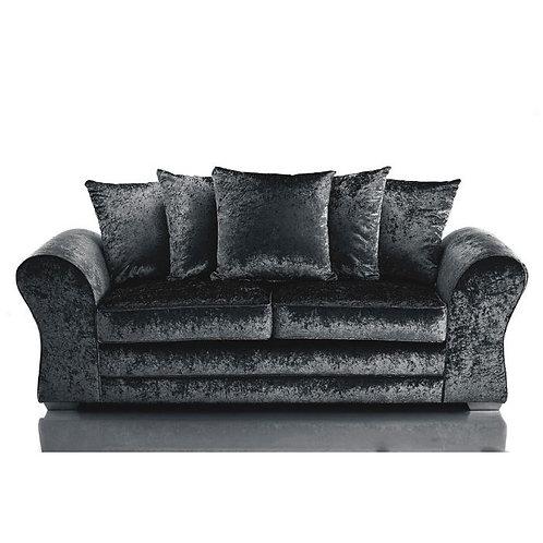 Jupiter 3 Seater Black Crushed Velvet Sofa