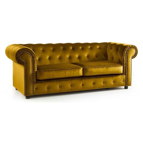Ashbourne Chesterfield Soft Mustard Velvet 3 Seater Sofa