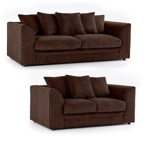 Chicago 3+2 Chocolate Jumbo Cord Sofa