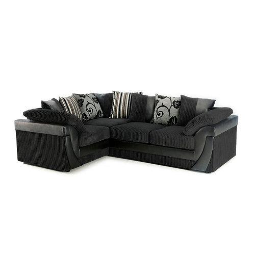 Lush Left Hand Black Jumbo Cord Corner Sofa