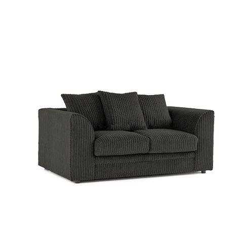 Chicago 2 Seater Black Jumbo Cord Sofa