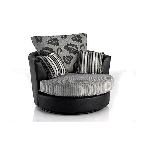 Lush Grey Jumbo Cord Swivel Chair