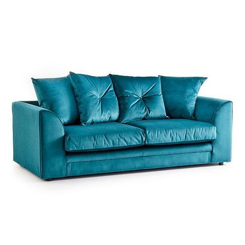 Rockford Teal Plush Velvet 3 Seater Sofa