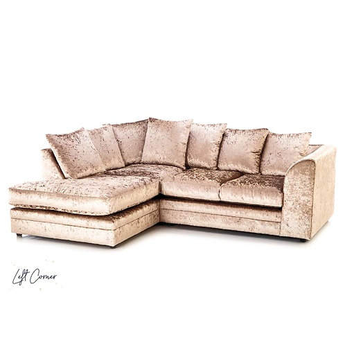 Michigan Mink Crushed Velvet  Left Hand Corner Sofa