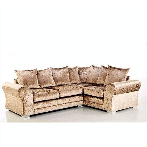 Jupiter Right Hand Mink Crushed Velvet Corner Sofa