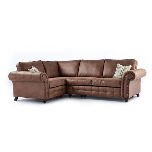 Oakland Brown Faux Leather Left Hand Corner Sofa