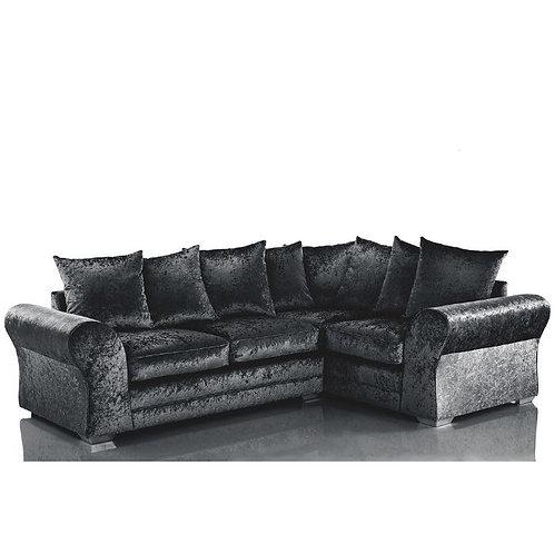Jupiter Right Hand Black Crushed Velvet Corner Sofa