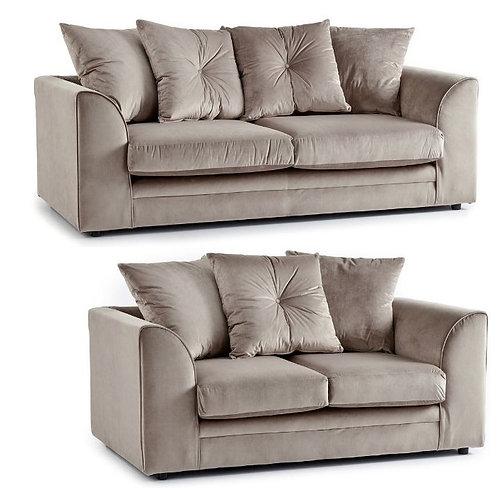 Rockford 3+2 Mink Plush Velvet Sofa