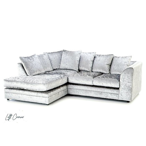 Michigan Silver Crushed Velvet  Left Hand Corner Sofa