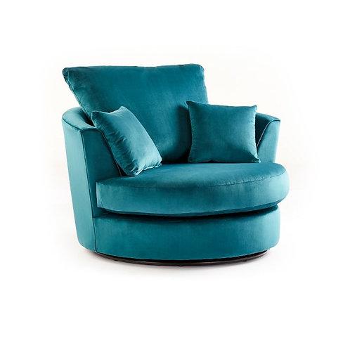 Rockford Teal Plush Velvet Swivel chair