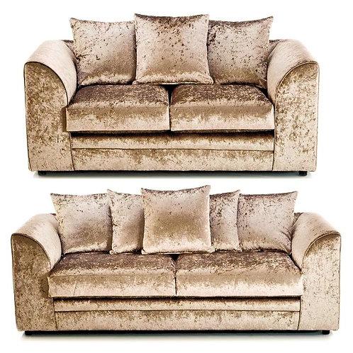 Michigan 3+2 Mink Crushed Velvet Sofa