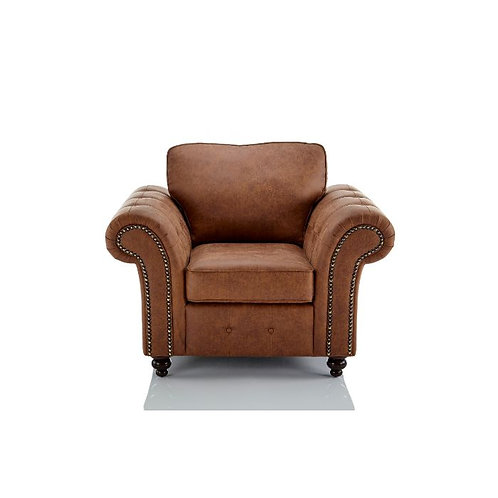 Oakland 1 Seater Brown Faux Leather Sofa