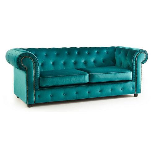 Ashbourne Chesterfield Soft Teal  Velvet 3 Seater Sofa