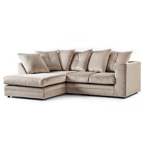 Rockford Plush Mink Velvet Left Hand Corner Sofa