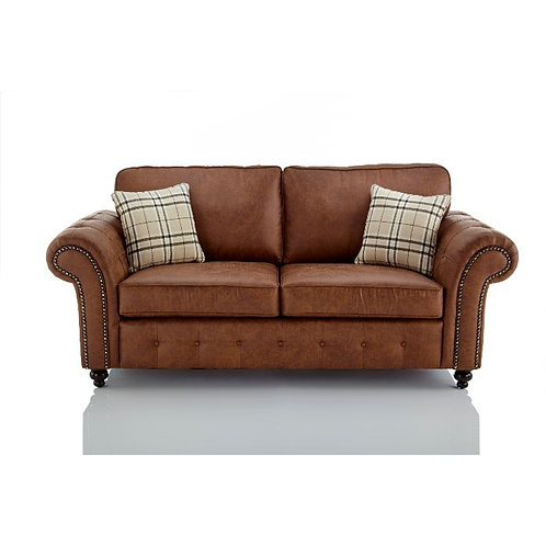 Oakland 3 Seater Brown Faux Leather Sofa