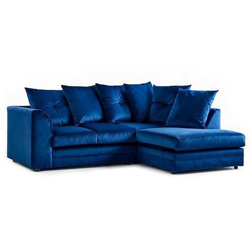 Rockford Indigo Blue Plush Velvet Right Hand Corner Sofa