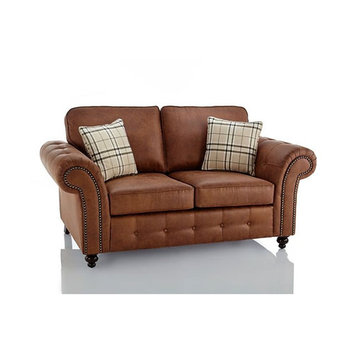 Oakland 2 Seater Brown Faux Leather Sofa