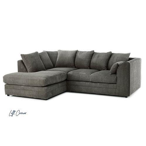 Chicago Grey Left hand Jumbo Cord Corner Sofa