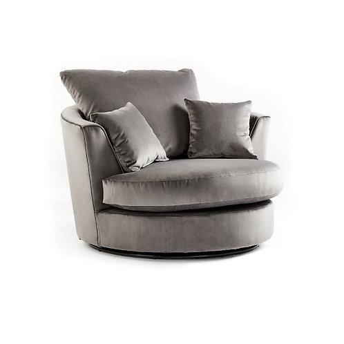 Rockford Grey Plush Velvet Swivel chair