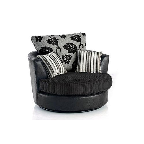 Lush Black Jumbo Cord Swivel Chair