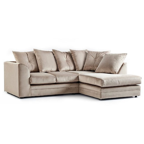 Rockford Mink Plush Velvet Right Hand Corner Sofa