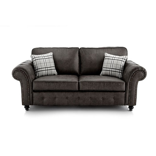 Oakland 3 Seater Black Faux Leather Sofa