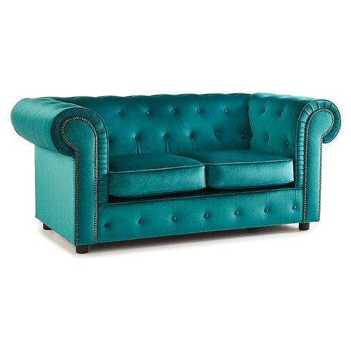 Ashbourne Teal Chesterfield Soft Velvet 2 seater Sofa