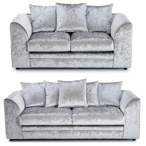 Michigan 3+2 Silver Crushed Velvet Sofa