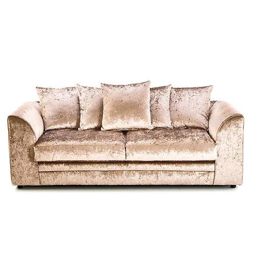 Michigan 3 Seater Mink Crushed Velvet Sofa