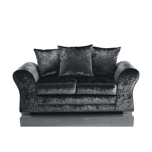 Jupiter 2 Seater Black Crushed Velvet Sofa