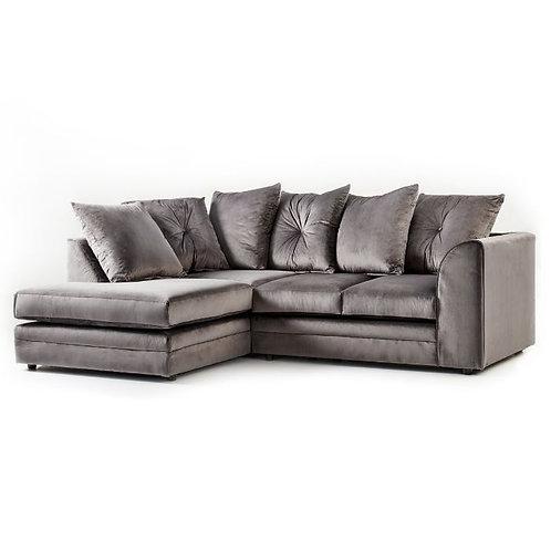 Rockford Plush Grey Velvet Left Hand Corner Sofa