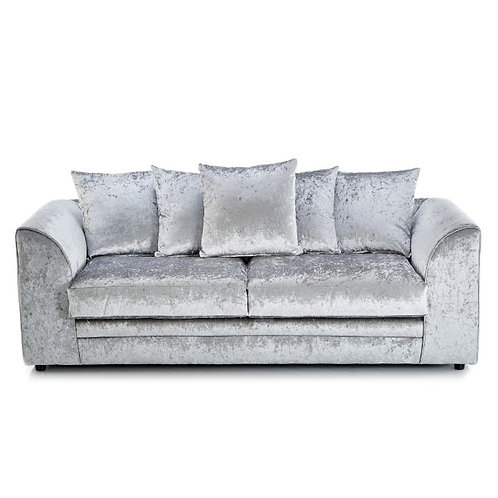 Michigan 3 Seater Silver Crushed Velvet Sofa