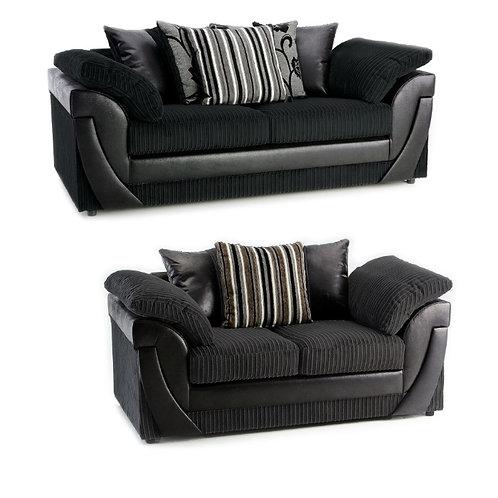 Lush 3+2 Black Jumbo Cord  Sofa
