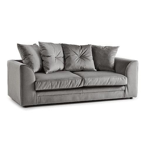 Rockford Grey Plush Velvet 3 Seater Sofa