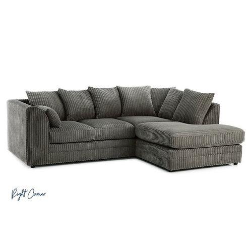 Chicago Grey Right hand Jumbo Cord Corner Sofa