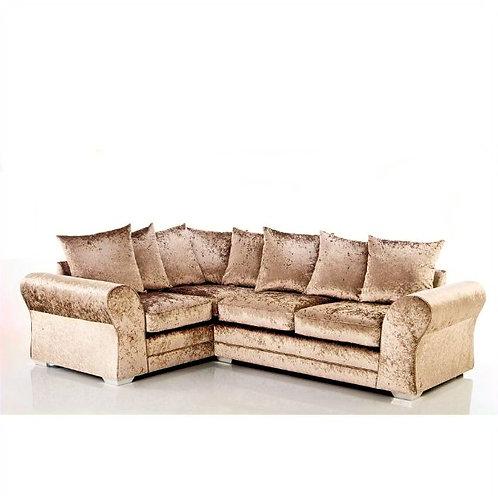 Jupiter Left Hand Mink Crushed Velvet Corner Sofa