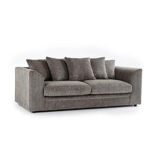 chicago 3 seater grey jumbo cord sofa