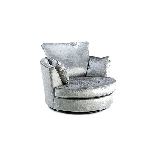 Michigan Silver Crushed Velvet Swivel Chair