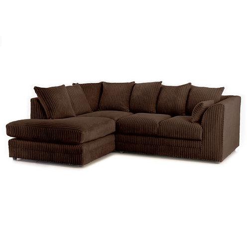 Chicago Brown Left hand Jumbo Cord Corner Sofa
