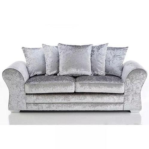 Jupiter 3 Seater Silver Crushed Velvet Sofa