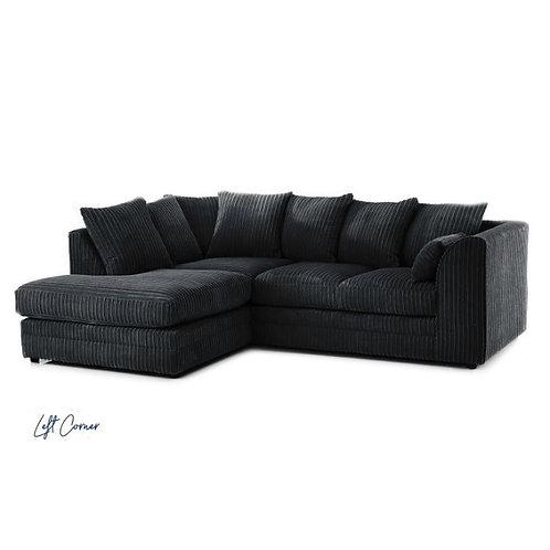 Chicago Black Left hand Jumbo Cord Corner Sofa
