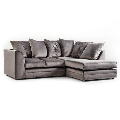 Rockford Grey Plush Velvet Right Hand Corner Sofa