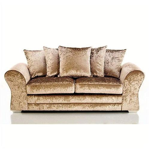 Jupiter 3 Seater Mink Crushed Velvet Sofa