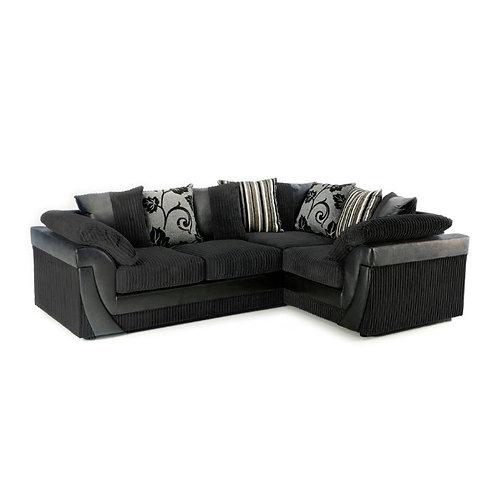 Lush Right Hand Black Jumbo Cord Corner Sofa