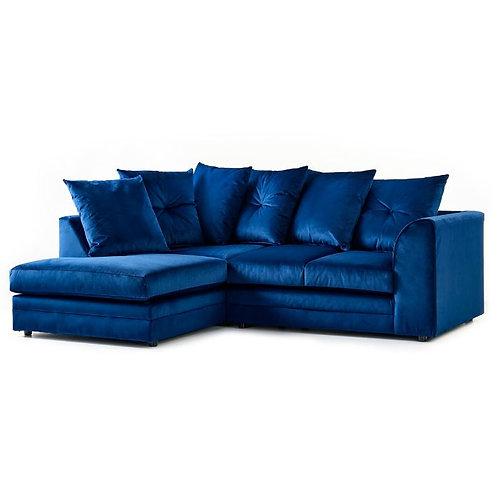 Rockford Plush Indigo Velvet Left Hand Corner Sofa