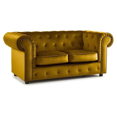 Ashbourne Mustard Chesterfield Soft Velvet 2 seater Sofa