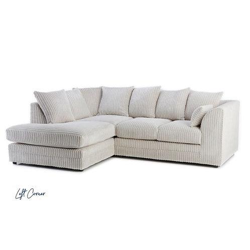 Chicago Cream Left hand Jumbo Cord Corner Sofa