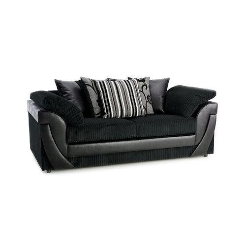 Lush 3 Seater Black Jumbo Cord  Sofa