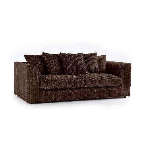 chicago 3 seater chocolate brown  jumbo cord sofa